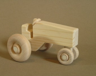 Wooden Toy Tractor.  A handmade toy.  A natural wood toy.
