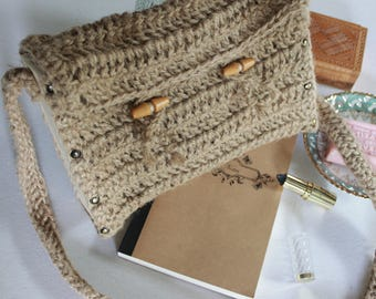 twine crochet wooden bag, bohochic wooden messenger bag