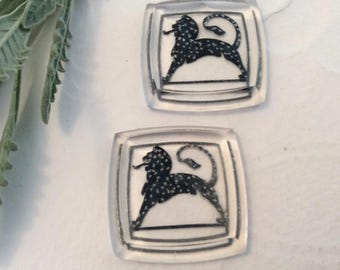 Vintage Egyptian Spotted animal Intaglio Glass Reverse carved Germany C' 1940,s Pack of 2