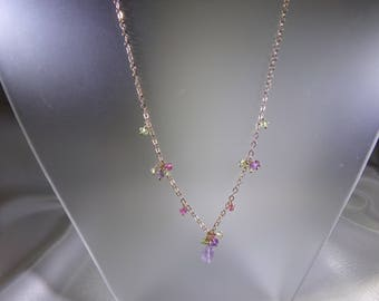 Pink amethyst briolette necklace with peridot pink tourmaline amethyst 14k gold filled gemstone handmade MLMR item 699