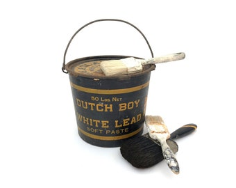 Dutch Boy Paint Can - Vintage Empty Lead Paint Can with Lid - Metal 50 Lbs Can - Display - Painter - Prop - Artist - Storage Tin - Bucket