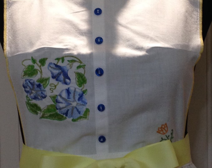 Vintage full apron shabby chic yellow blue green crocheted embroidered pillowcase embroider flowers yellow ties blue vintage teacup buttons