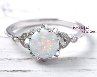 Womens Opal Ring, Opal Ring Frauen, Opal Hochzeit Ring, Ehering, Hochzeit Band, Hochzeitsband Opal, Opal Hochzeit Ring, Sterling Silber