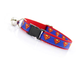 "Cat Collar - ""Superman"" - Comic Book - Breakaway Buckle or Non-Breakaway - Cartoon / Superhero / Comics - Sizes for Cats & Small Dogs"