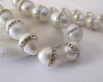 10 x 13mm Natural White Rice Oval Freshwater Pearl Beads With Rhinestones,Genuine Freshwater Pearl Beads,Cultured Freshwater Pearls(RWH-073)