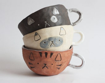 Cat Cup/ Handmade Cat Mug/ Porridge Bowl/ Handbuild Cat Cups/ Soup Bowl/ Handmade Ceramic Cat Mugs/ Ceramic Porridge Bowl