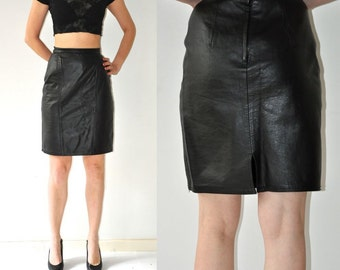 Vintage Black Real Leather Skirt / High Waist Genuine Leather Skirt - Size Small
