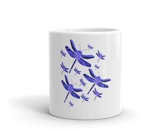 Mug, Purple Dragonflies, Dragonfly Mug, Dragonfly Lovers