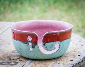 Robin's Egg and Red Stripes Yarn Bowl
