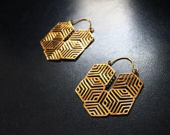 GEO CUBE Brass Earrings - Tribal Earrings, Geometric Earrings, Brass Earrings, Flower of Life Earrings, Bohemian, Sacred Geometry Earrings