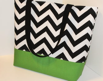 Chevron Tote Bag . Black White Chevron with Grass Green . Standard size . Chevron beach bag  bridesmaid gifts MONOGRAMMING Available