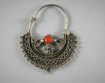 Silver nose ring, coral and silver nose ring