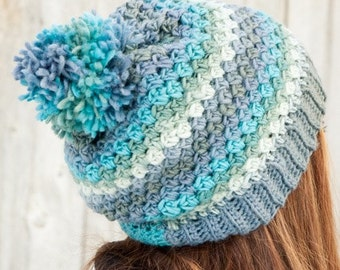 Women Multicolored Beanie - Slouch Beanie - Pom Pom - Crochet Beanie