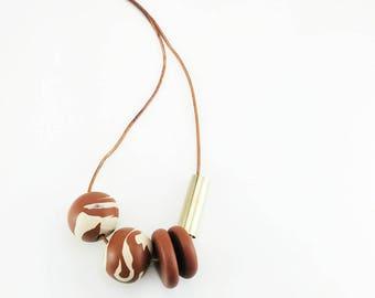 Beaded Caramel Necklace//
