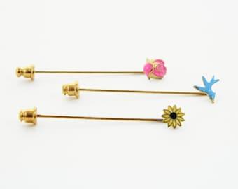 Bluebird and Flowers Stickpin Set - Stickpins Trio