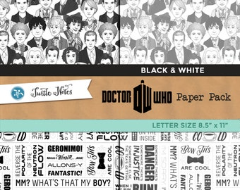 Dr. Who Mega Black & White Letter Sized Paper Pack : 14 Printable Digital Scrapbook Papers