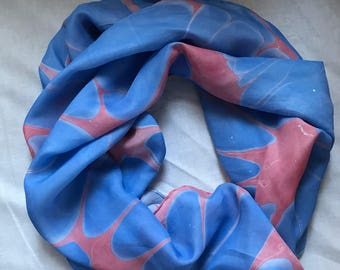 """Pale Red and Blue - Water Marbled Hand Painted 100% Silk 6 Foot Long Scarf Habotai 8mm - 14"""" x 72"""""""