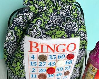 Bingo Bag - Blue Floral Drawstring Bag - Knitting Project Bag - Mother's Day Gift - Bingo Gift - Bingo Dauber Bag - Bingo Caddy - Wristlet