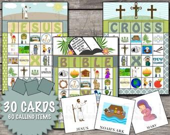Christian Bible Bingo 30 Printable Cards INSTANT DOWNLOAD