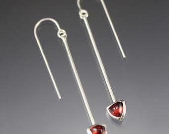 Drop earrings - 6mm trillion shaped garnet dangle earrings - READY TO SHIP