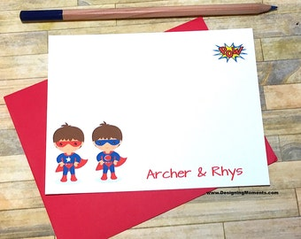 Personalized Twin Super Hero Stationery - Twin Boys Superhero Cards -Note Cards - Thank You - Personalized - Super Hero Cape Mask DM193A