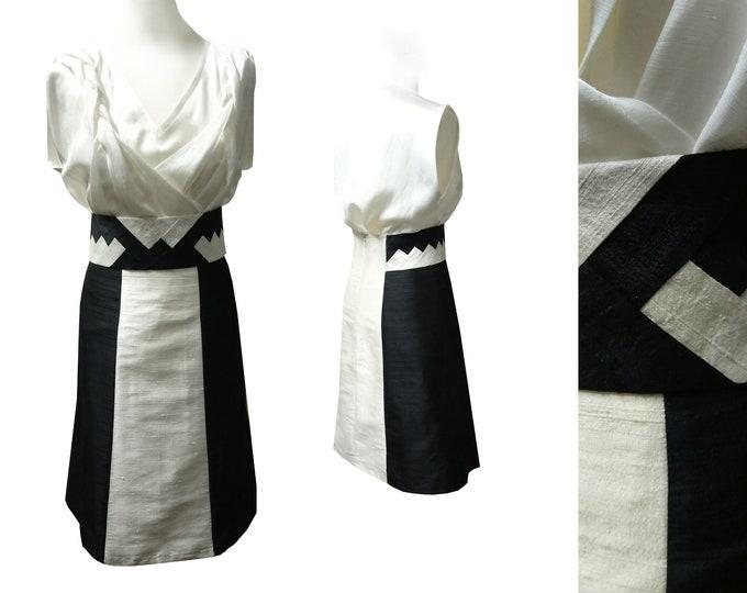 silk skirt highwaist a line patchwork sash black champagne