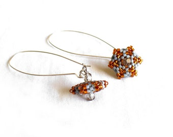Orange and Grey Earrings, Bead Earrings, Dangling Geometric Earrings, Beadwoven Earings, Large Silver Hook, Small Hexagon Earrings