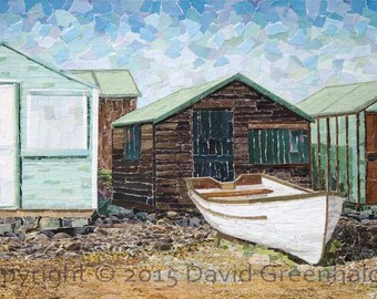 Huts Portland Bill, Dorset - Signed Fine Art Giclée Print. boat, boathouse print from original fine art collage.