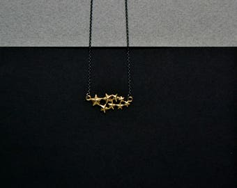 Gold star necklace, Dainty  constellation Necklace, Sterling Silver & 14k Gold plated, galaxy universe space necklace