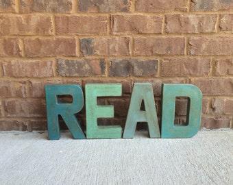 """8"""" READ Vintage Farmhouse Style Letters"""