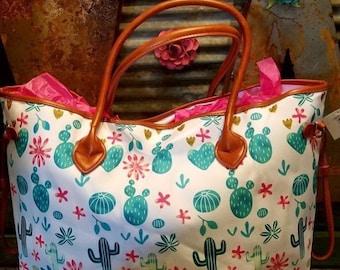 Cactus weekender bag tote,overnight bag