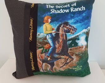 Nancy Drew pillow cover, The Secret of Shadow Ranch, Nancy Drew books, decorative pillow, throw pillow, gifts for her, vintage books, gifts