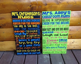 SALE Personalized Wooden Teacher Classroom Sign 12x20""