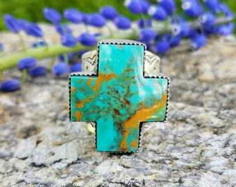 Kingman Turquoise Cross Statement Ring- fits like 9.25-9.5