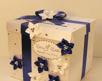 Wedding Card Box Royal blue and White Gift Card Box Money Box Holder-Customize your color