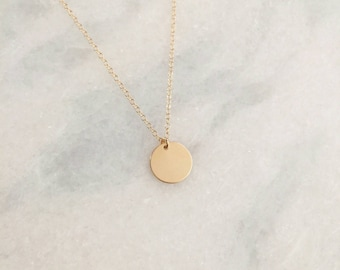 14k Gold Filled Disc Dainty Necklace