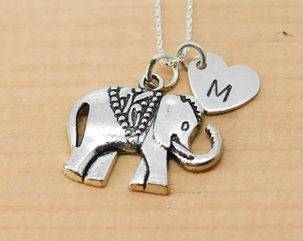 Elephant Necklace, Elephant Charm, Elephant Pendant, Initial Necklace, Personalized Necklace, Sterling Silver, Charm, Bridesmaid Gift
