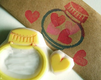 love in the jar rubber stamps | glass jar & love heart cookie | diy birthday valentine card making | hand carved by talktothesun | set of 2