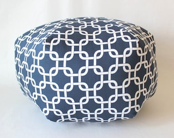 Dark Blue Pouf, Navy Nautical Pouf, large pouf ottoman pillow, floor pillow - fabric floor cushion - Blue Floor pouf