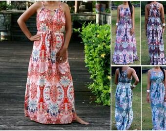 Red Maxi Dress/ Women's Dresses/ Peacock and Flower Dress/ Kaleidoscope Long Maxi Dress/ Summer Dresses/ Sundress