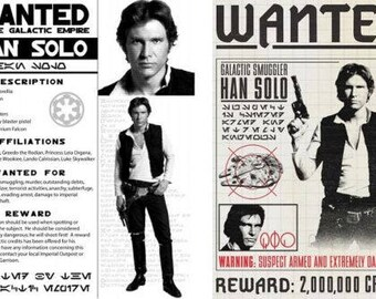 Star Wars Set Of 2 Han Solo Wanted Posters Prop/Replica Prints > Harrison Ford