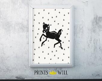 Deer Wall Art, Deer Print, Deer Decor, Black and White Prints, Deer Nursery, Black and White Nursery, Deer Printable, Black Minimalist