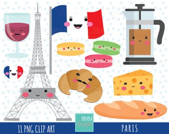 50% SALE PARIS clipart, travel clipart, kawaii clipart, commercial use, cute graphics, Eiffel tower/Paris/food graphics, france clipart
