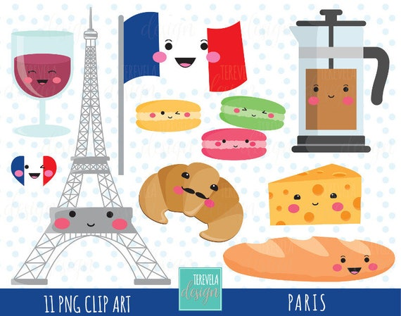 50 SALE PARIS Clipart Travel Kawaii Commercial Use Cute Graphics Eiffel Tower Paris Food France From Tereveladesign