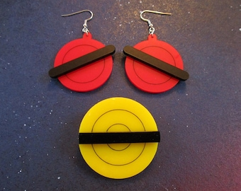 Animated X-Men Jubilee Earrings and Brooch, Jubilee Cosplay Set Accessories, Red, Black, Yellow TV Show