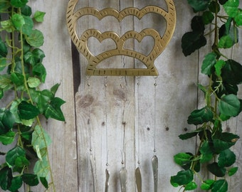 Wise Old Owl, Brass Trivet Turned Art, Wind Chime with Silver Plated Chimes