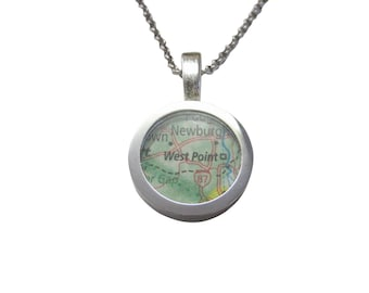 West Point Military Academy Map Pendant Necklace