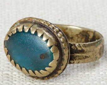 Blue & Silver Vintage Afghan Ring Handmade in Afghanistan Turquoise US Size 8 Rustic Oval Old Glass Tribal Ethnic Statement Ring 7I