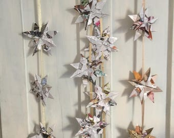Christmas Star Garland - recycled paper origami stars on a ribbon - approx 2m long