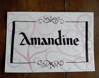 """Card Calligraphed """"Name"""" to customize Style """"Arabesque"""" - choice of colors - 100% handmade"""
